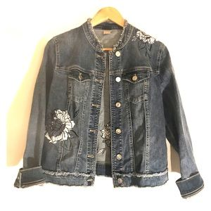 Chico's floral embroidered distressed denim jacket